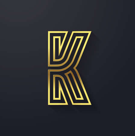 Vector graphic elegant and creative line alphabet . Letter K  向量圖像