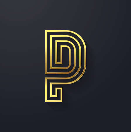 Vector graphic elegant and creative line alphabet in gold . Letter P  Vector