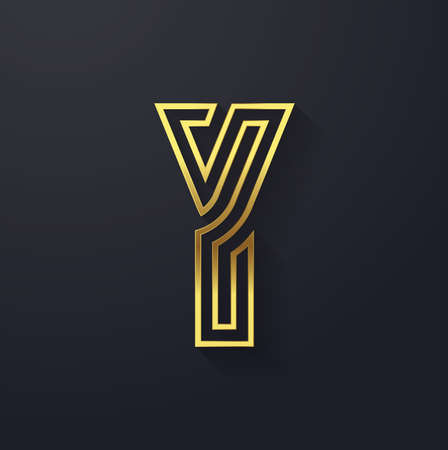 Vector graphic elegant and creative line alphabet in gold . Letter Y  Vector
