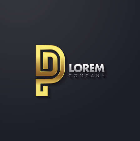 Vector grafische elegant en creatieve lijn alfabet in goud. Letter P