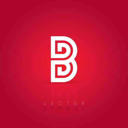 dark gray line: Vector graphic creative line alphabet symbol on red background . Letter B Illustration