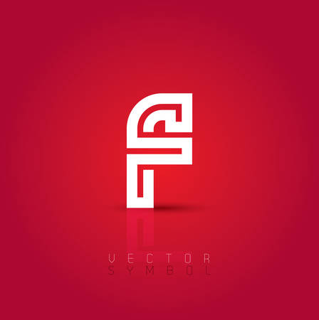 letter: Vector graphic creative line alphabet symbol on red background . Letter F