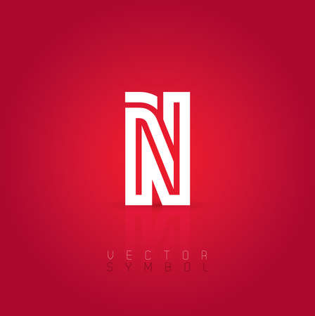 Vector graphic creative line alphabet symbol on red background . Letter N Vector