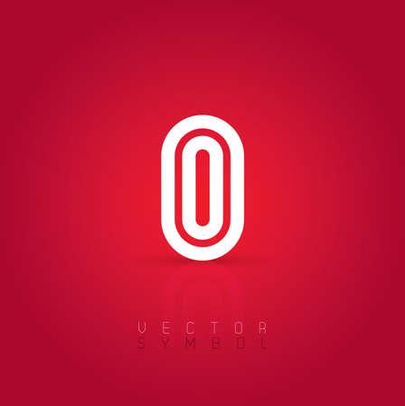 dark gray line: Vector graphic creative line alphabet symbol on red background . Letter O