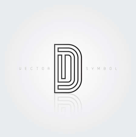 Vector graphic elegant and creative line alphabet . Letter D  Vector