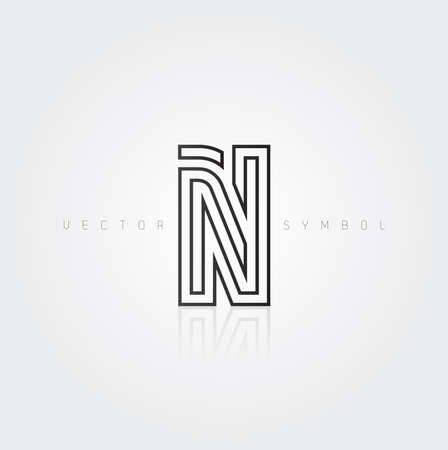 Vector graphic elegant and creative line alphabet . Letter N  Vector