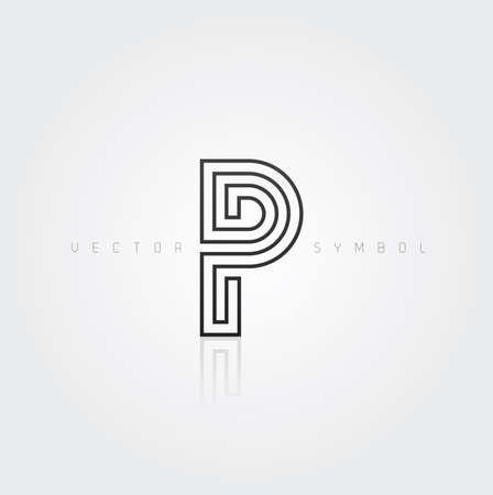 Vector graphic elegant and creative line alphabet . Letter P  Vector