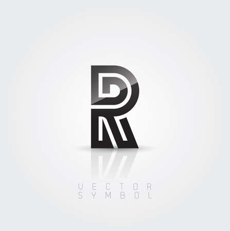 Vector graphic elegant and creative line alphabet . Letter R  Vector