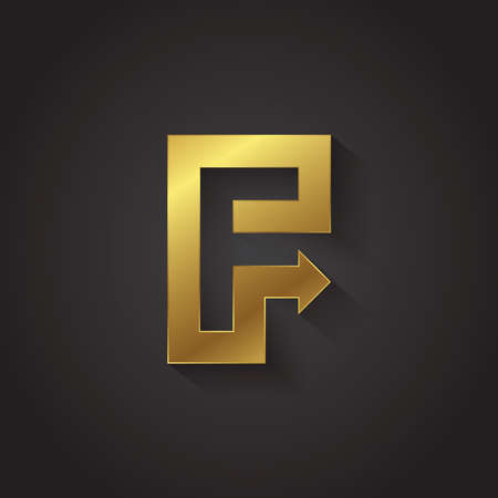 letter f: Vector graphic gold arrow alphabet letter symbol . Letter F