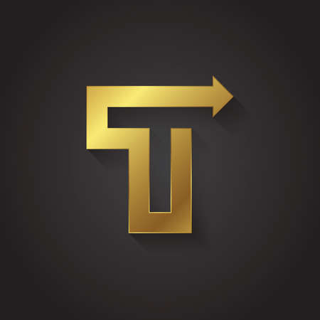 gold alphabet: Vector graphic gold arrow alphabet letter symbol .Letter T Illustration