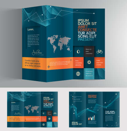 Vector graphic elegant abstract business brochure design with spread pages Vectores