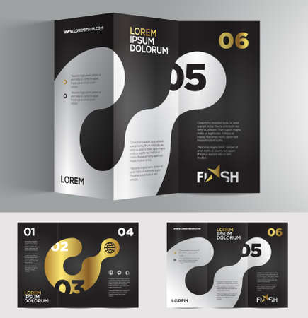 tri color: Vector graphic elegant abstract business brochure design with spread pages Illustration