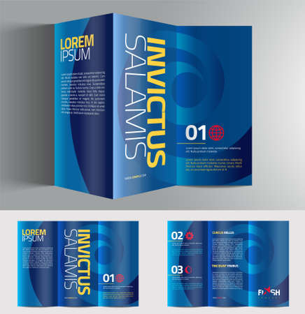 tri color: Vector graphic elegant abstract business brochure design with spread pages and 3d mockup