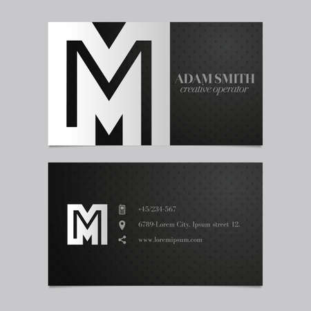 letter m: Elegant vector graphic business card with alphabet symbol  letter M Illustration