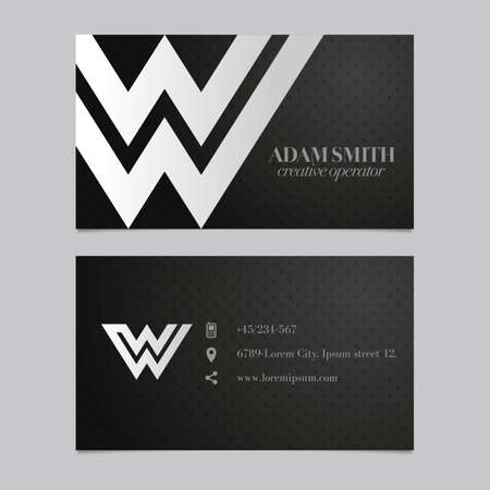 embossed paper: Elegant vector graphic business card with alphabet symbol . letter W