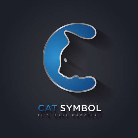 letter head: Simple and clever vector graphic Cat and C letter symbol with sample text