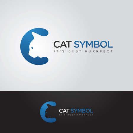 saludable logo: Cat vector gr�fico simple e inteligente y C s�mbolo carta con texto de ejemplo Vectores