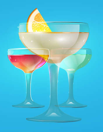 Beautiful vector graphic illustration of two colorful cocktail glasses with lemon and cherry grey background Vector