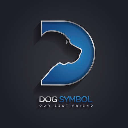d: Simple and clever vector graphic Dog and D letter symbol with sample text