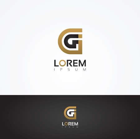 g alphabet: Vector graphic elegant silhouette alphabet symbol in two colors  Letter G