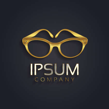 vector sample: Vector graphic elegant glasses symbol for your company in gold with sample text in silver