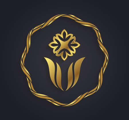 lotus leaf: Vector graphic abstract golden and silver flower symbol with sample text Illustration