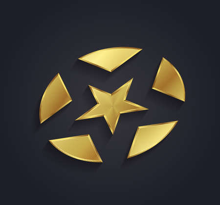 triplets: Realistic vector graphic ribbed gold star shaped symbol with negative space Illustration