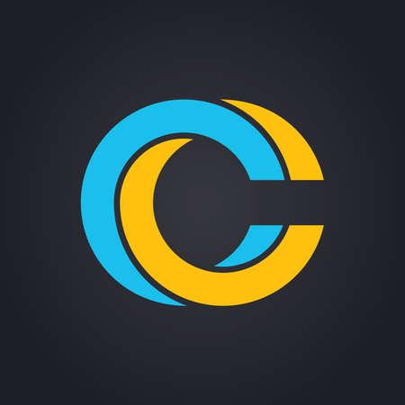 letras negras: Gráfico de vector elegante símbolo del alfabeto imposible en dos colores. Letra C