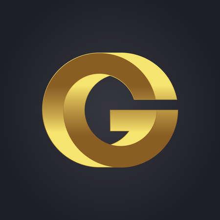 letter g: Beautiful vector graphic gold alphabet letter G symbol