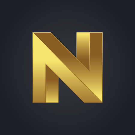 Beautiful vector graphic gold alphabet letter N symbol Illustration