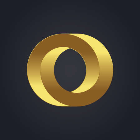 o': Beautiful vector graphic gold alphabet letter O symbol Illustration