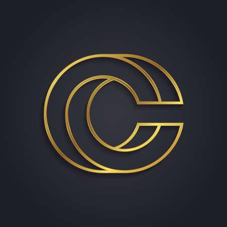 tipos de letras: Vector alfabeto de oro gráfico. Letra C Vectores