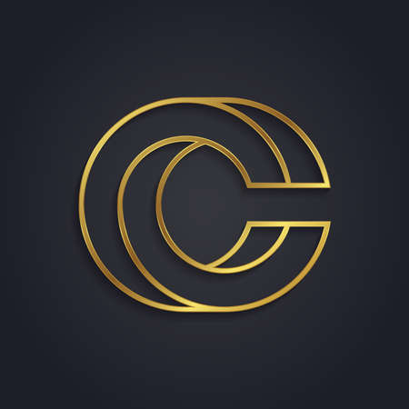 Vector graphic gold alphabet . Letter C