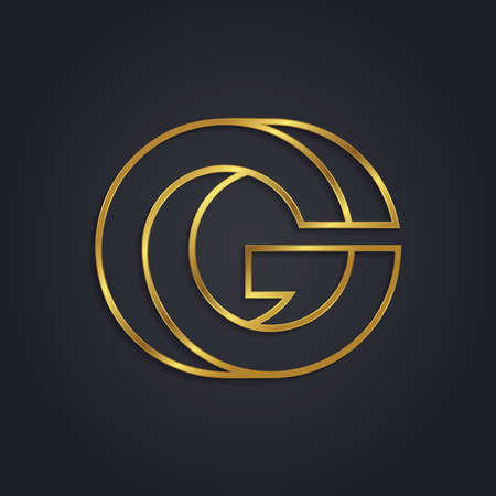 Vector graphic gold alphabet . Letter G