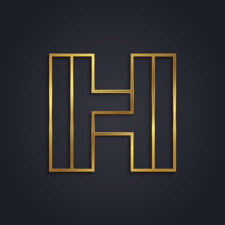 Vector graphic gold alphabet . Letter H