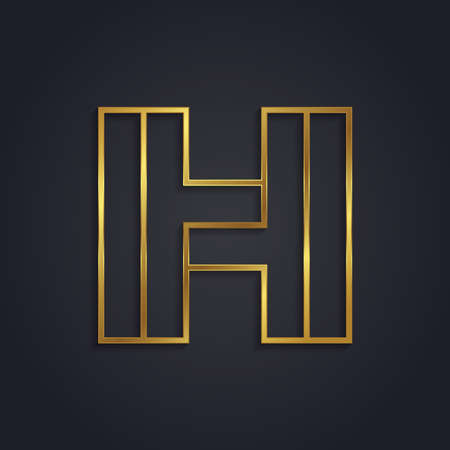 Vector graphic gold alphabet . Letter H
