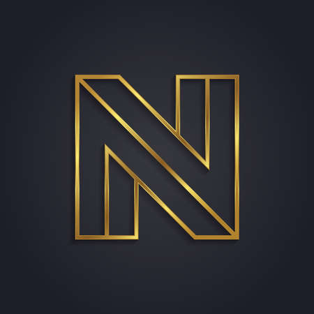 Vector graphic gold alphabet . Letter N