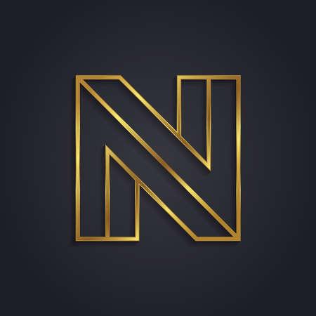 letter n: Vector graphic gold alphabet . Letter N