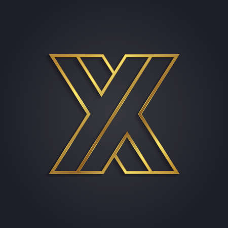 Vector graphic gold alphabet . Letter X