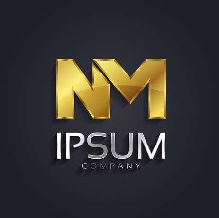 Vector grafische NM brief symbool in goud en zilver met voorbeeld tekst voor uw bedrijf