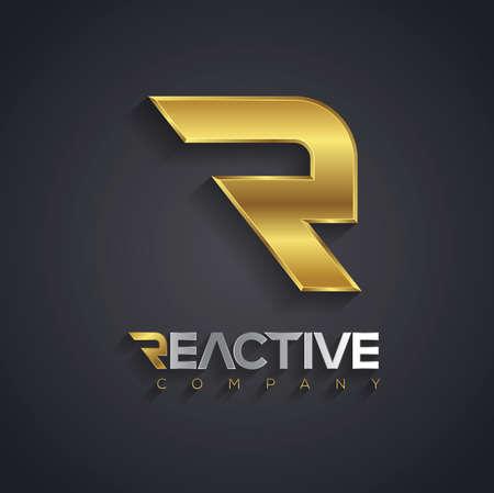 logos empresa: Gráficos vectoriales de la letra R de oro símbolo de su empresa con texto de ejemplo Vectores