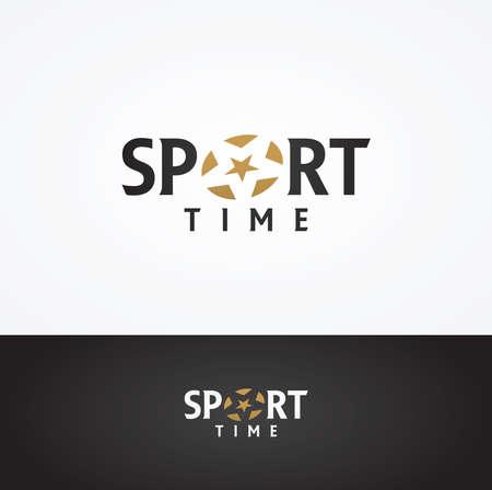 icono deportes: Gr�ficos vectoriales de texto DEPORTE s�mbolo con estrella estilizada en positivo y negativo Vectores