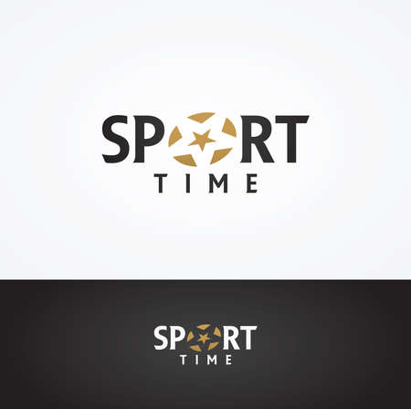 sports: Vector graphic SPORT text symbol with stylized star in positive and negative Illustration