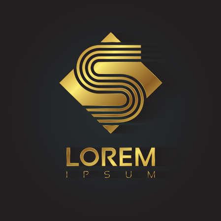 Vector grafische gouden vierkant alfabet symbool met gestreepte brief. Letter S Stock Illustratie