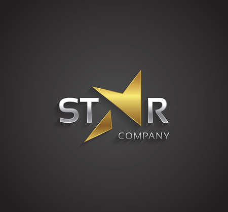 Vector graphic silver and gold star sign with lightning symbol Çizim