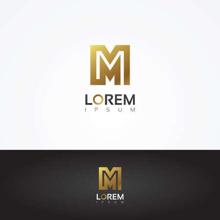Prachtige vector grafische gouden alfabet letter M symbool