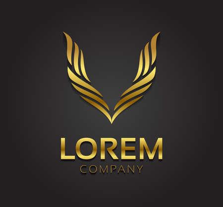 Vector grafische abstracte vleugel symbool voor uw bedrijf met voorbeeld tekst in goud en zilver Stock Illustratie