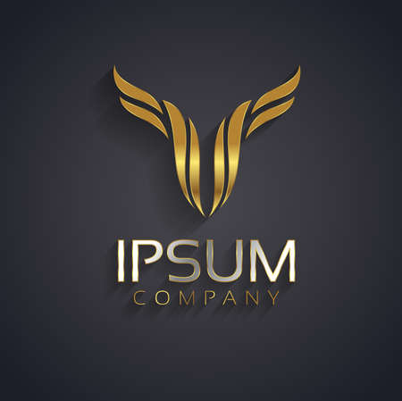 wings logos: Vector graphic abstract wing symbol for your company with sample text in gold and silver