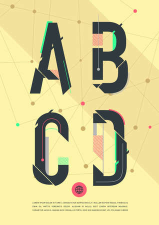 graphic alphabet in a set.