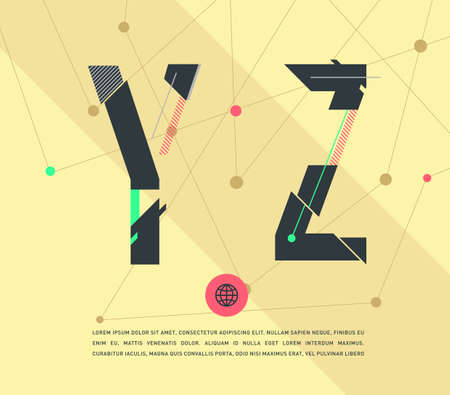 graphic alphabet in a set. Ilustrace